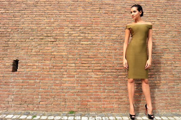 army green bandage dress