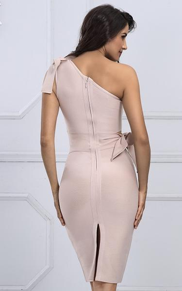 nude illusion bandage dress - back view on model