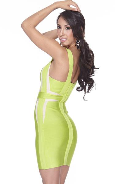 lime green bodycon dress - side view on model