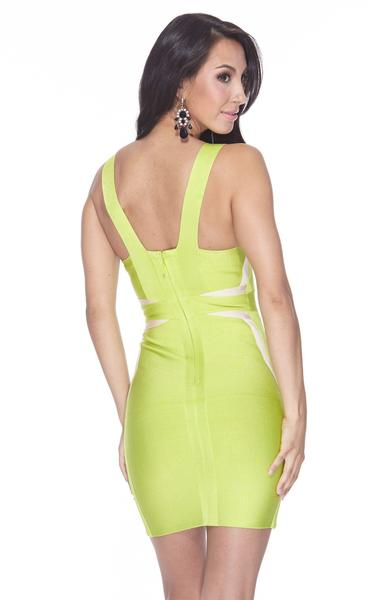 lime green bodycon dress - back view on model
