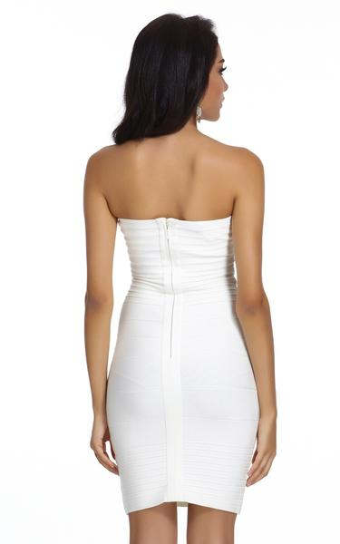 short white strapless dress - back view on model