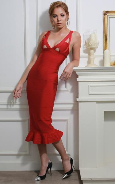 red mermaid bandage dress - front view on model