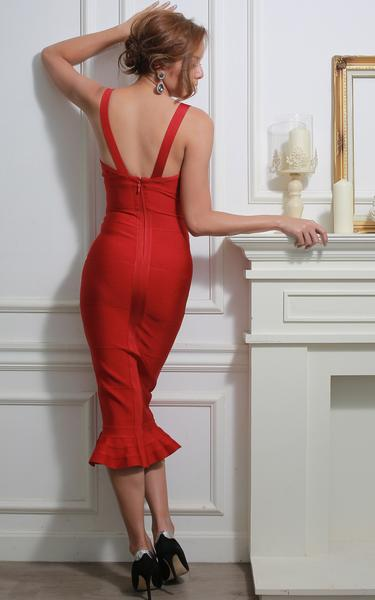 red mermaid bandage dress - back view on model