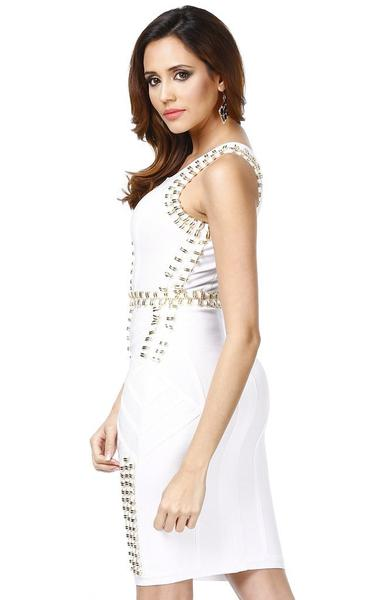 white studded bandage dress - side view on model