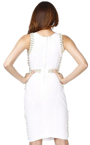 white studded bandage dress - back view on model