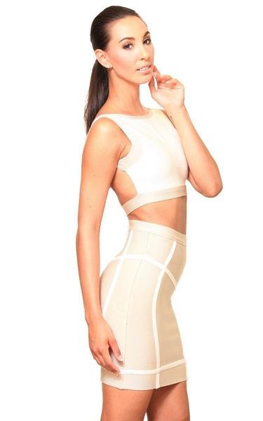 beige two piece bandage set - back view on model