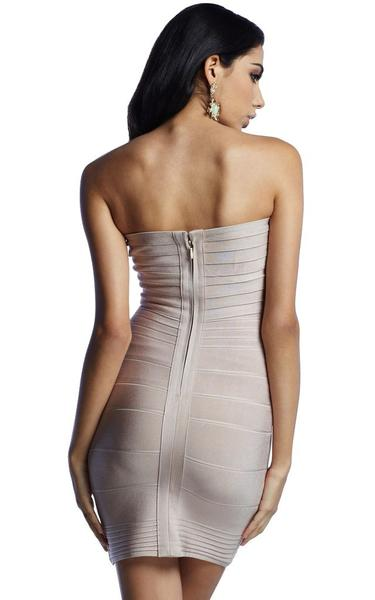 beige strapless bandage dress - back view on model