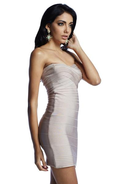 beige strapless bandage dress - side view on model