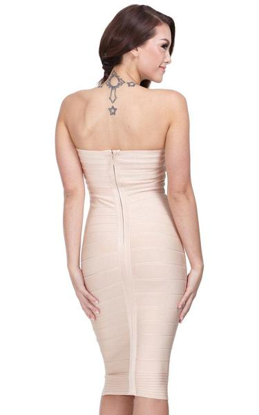 nude strapless midi bandage dress - back view on model
