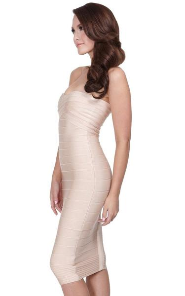 nude strapless midi bandage dress - side view on model