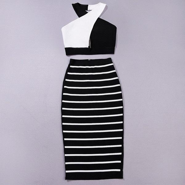 black and white two piece bandage dress - front view