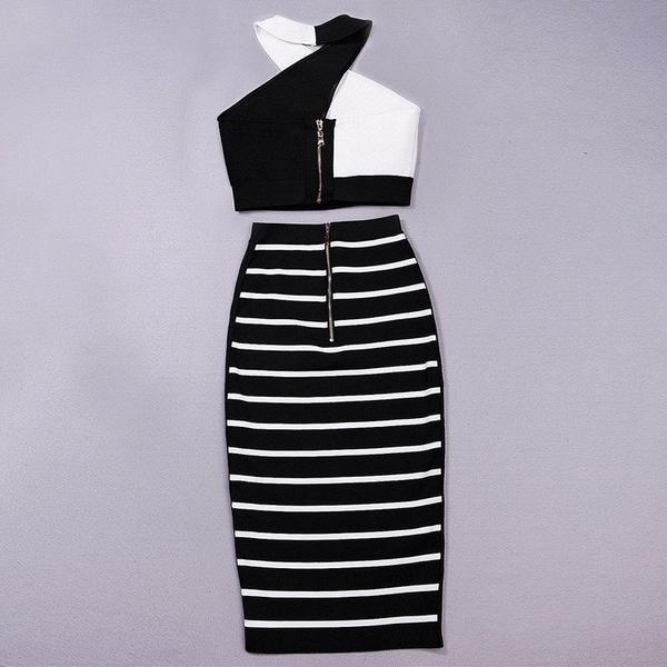 black and white two piece bandage dress - back view