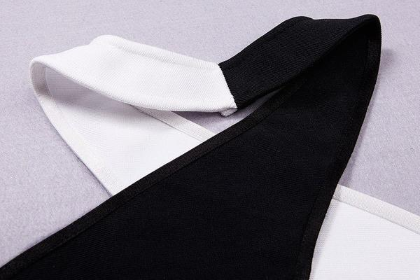 black and white two piece bandage dress - detailed view