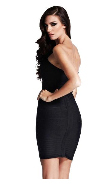 black bandeau bodycon dress - back view on model