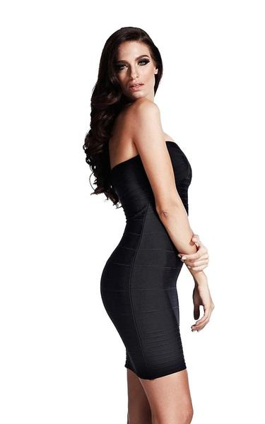 black bandeau bodycon dress - side view on model