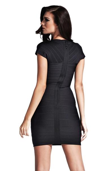 black cap sleeve bandage dress - back view on model