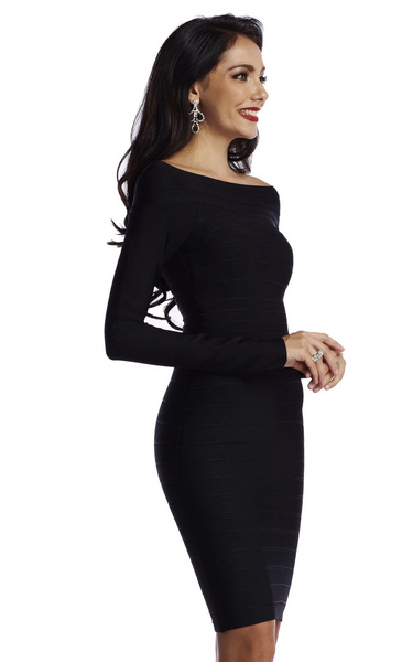 Long sleeve black bandage dress from the kewl shop