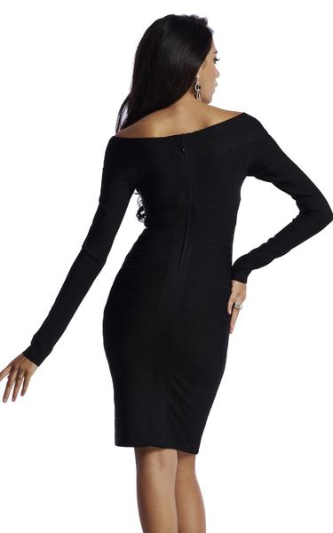 black long sleeve bandage dress - back view on model