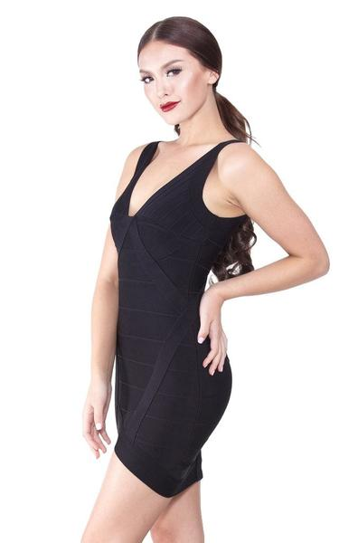 low cut black bandage dress - side view - on model