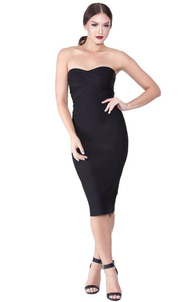 black strapless pencil dress on model