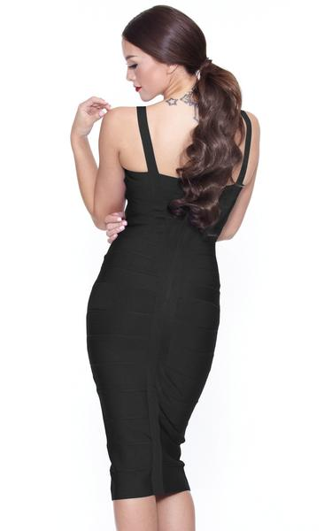 black spaghetti strap midi dress - back view on model