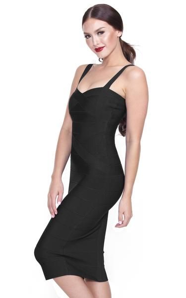 black spaghetti strap midi dress - side view on model
