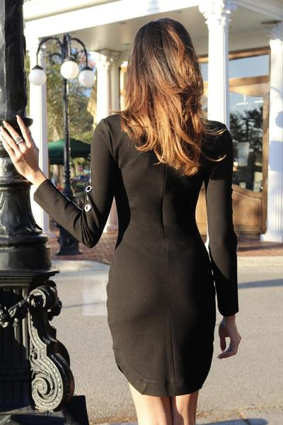 black long sleeve studded bandage dress - back view on model