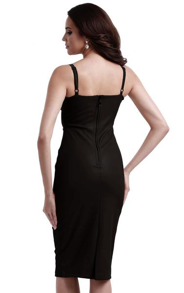 black faux leather bodycon dress - back view on model
