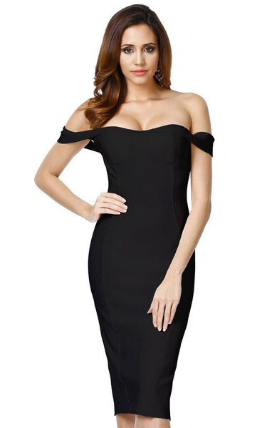 strapless off shoulder black bandage dress for valentine day