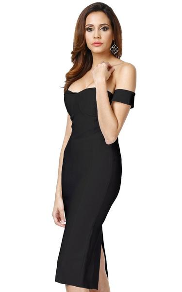 black off shoulder bodycon dress - side view on model