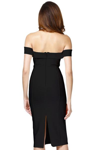 black off shoulder bodycon - back view on model