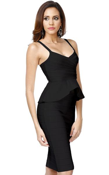 black peplum bandage dress - side view on model