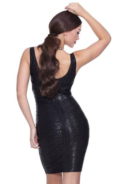 black metallic bandage dress - back view on model