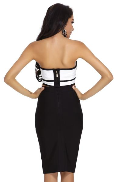 black and white two piece bandage dress - rear view on model