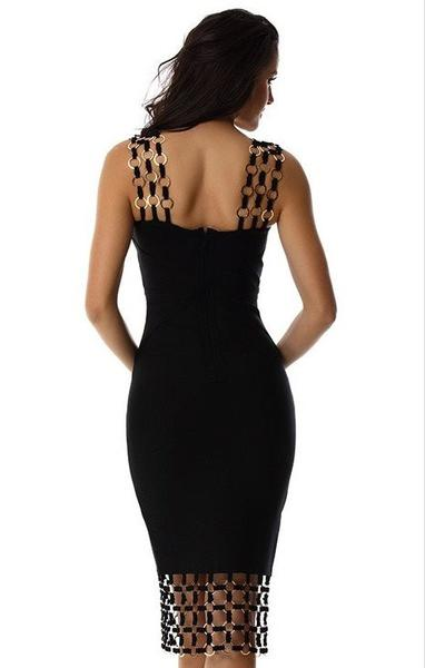 black cage dress - back view on model