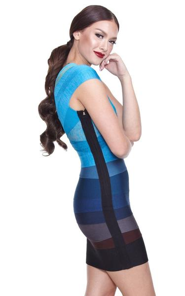 blue ombre bandage dress - side view on model