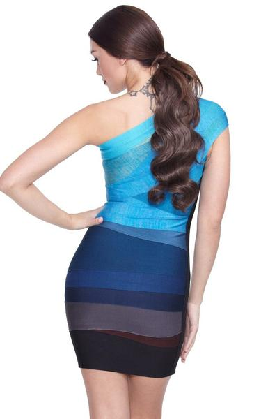 blue ombre bandage dress - back view on model