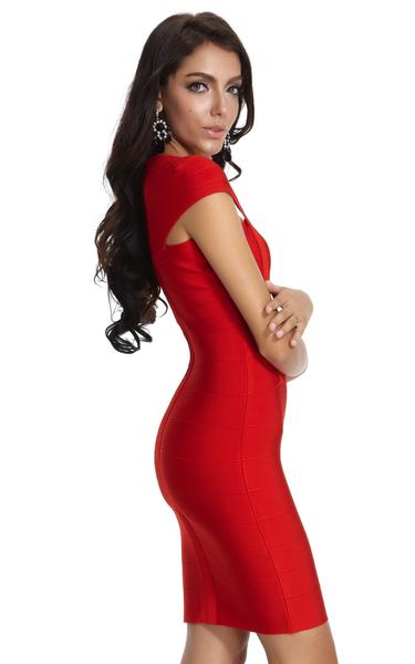 red cap sleeve dress - side view on model