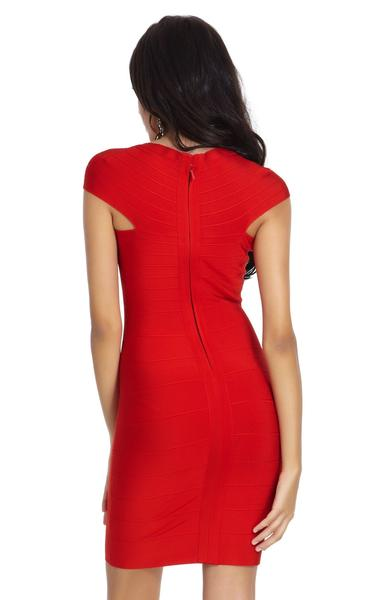 red cap sleeve dress - back view on model