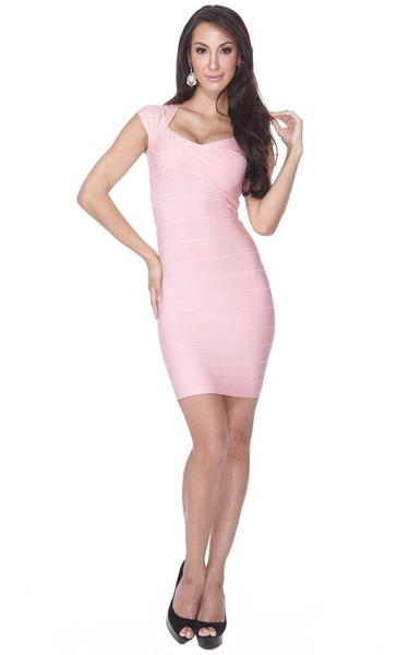 blush pink bandage dress - full length view on model