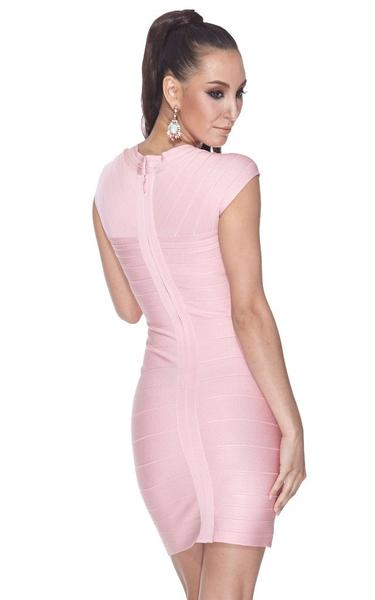 blush pink bandage dress - back view on model