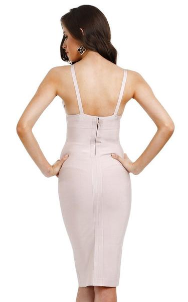 nude pencil bandage dress - back view on model