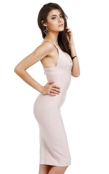 nude pencil bandage dress - side view