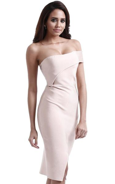 strapless asymmetrical bodycon dress - side view on model