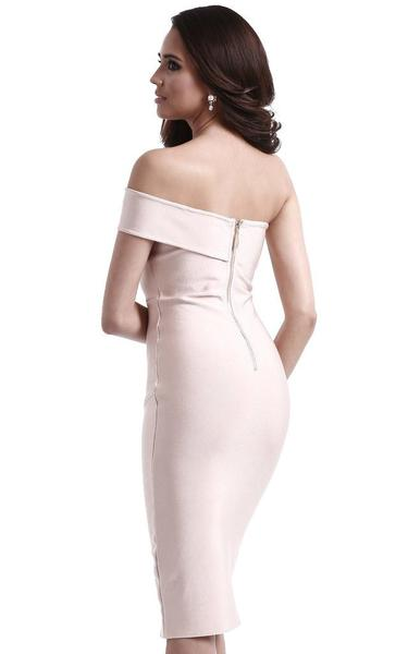 strapless asymmetrical bodycon dress - back view on model