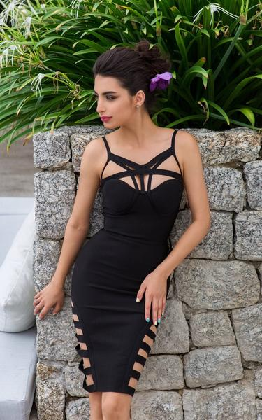 strappy caged bandage dress - full view on model