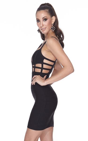 black caged bodycon dress - side view on model