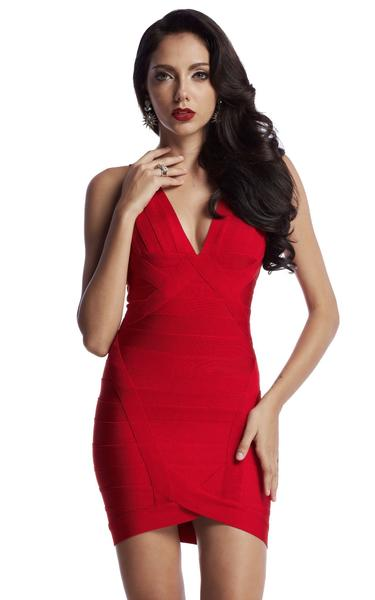 red deep v-neck bandage dress