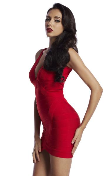 deep plunge bandage dress - side view on model