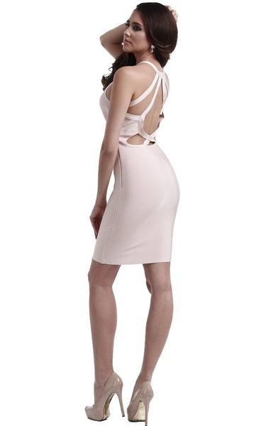 nude racer back bandage dress - side view on model